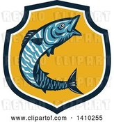 Vector Clip Art of Retro Jumping Wahoo Fish in a Blue White and Yellow Shield by Patrimonio