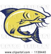 Vector Clip Art of Retro Jumping Yellow and Blue Catfish by Patrimonio