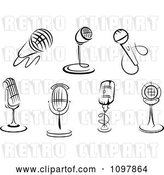 Vector Clip Art of Retro Karaoke or Singer and Radio Desk Microphones by Vector Tradition SM