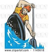 Vector Clip Art of Retro Kayaker Paddling 1 by Patrimonio