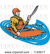 Vector Clip Art of Retro Kayaker Paddling 2 by Patrimonio