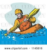 Vector Clip Art of Retro Kayaker Paddling 3 by Patrimonio