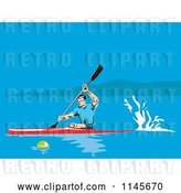 Vector Clip Art of Retro Kayaker Paddling on a Lake by Patrimonio