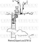 Vector Clip Art of Retro KChildren Climbing Above Clouds by Prawny Vintage