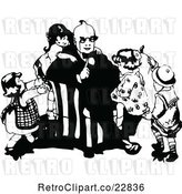 Vector Clip Art of Retro KChildren Climbing on Their Dad by Prawny Vintage