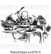 Vector Clip Art of Retro KChildren Eating by Prawny Vintage