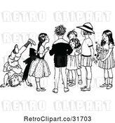Vector Clip Art of Retro KChildren Hanging out by Prawny Vintage