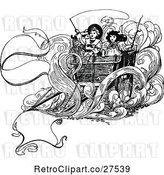 Vector Clip Art of Retro KChildren on a Carriage by Prawny Vintage