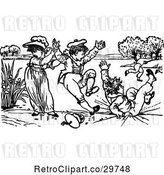 Vector Clip Art of Retro KChildren Playing by Prawny Vintage