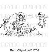 Vector Clip Art of Retro KChildren Playing in a Meadow by Prawny Vintage
