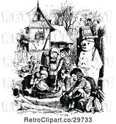 Vector Clip Art of Retro KChildren Playing Outdoors in Winter by Prawny Vintage