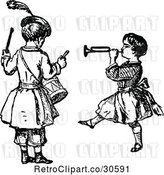 Vector Clip Art of Retro KChildren Playing the Drums and a Horn by Prawny Vintage