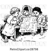 Vector Clip Art of Retro KChildren Reading a Newspaper by Prawny Vintage