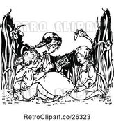 Vector Clip Art of Retro KChildren Reading in a Garden by Prawny Vintage