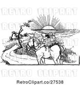 Vector Clip Art of Retro KChildren Riding a Horse into Sunset by Prawny Vintage