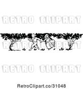 Vector Clip Art of Retro KChildren Running by Trees by Prawny Vintage
