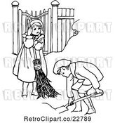 Vector Clip Art of Retro KChildren Shoveling Snow by Prawny Vintage