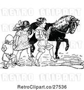 Vector Clip Art of Retro KChildren Walking a Pony by Prawny Vintage