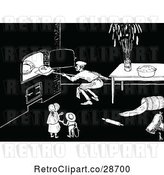 Vector Clip Art of Retro KChildren Watching a Baker Put Bread in an Oven by Prawny Vintage