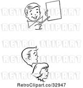 Vector Clip Art of Retro KChildren Watching a Birthday Magic Trick by Picsburg