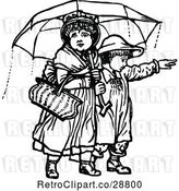 Vector Clip Art of Retro KChildren with an Umbrella 2 by Prawny Vintage
