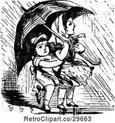 Vector Clip Art of Retro KChildren with an Umbrella by Prawny Vintage