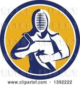 Vector Clip Art of Retro Kendo Kendoka Swordsman with Bamboo Sword or Shinai in a Blue White and Yellow Circle by Patrimonio