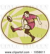 Vector Clip Art of Retro Kicking Rugby Player Logo by Patrimonio