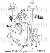 Vector Clip Art of Retro King and Queen with a Son by Prawny Vintage