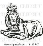 Vector Clip Art of Retro King Lion by Patrimonio