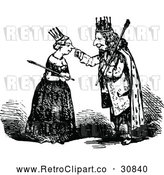 Vector Clip Art of Retro King Touching a Queens Nose by Prawny Vintage
