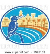 Vector Clip Art of Retro Kingfisher Bird Perched Against a Mediterranean Coastal City in an Oval by Patrimonio