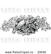 Vector Clip Art of Retro Kissing Birds and Floral Design Element by Prawny Vintage