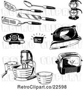Vector Clip Art of Retro Kitchen Utensils Appliances and Household Items by BestVector