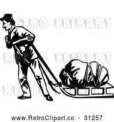 Vector Clip Art of Retro Klondiker Gold Rush Miner Pulling a Sled by Prawny Vintage