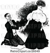 Vector Clip Art of Retro Kneeling Guy and Lady by Prawny Vintage