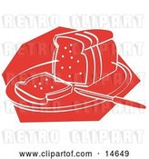 Vector Clip Art of Retro Knife Resting on a Cutting Board near Sliced Bread by Andy Nortnik