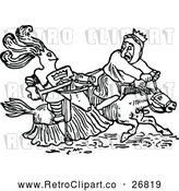 Vector Clip Art of Retro Knight and King on Horseback by Prawny Vintage