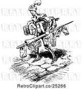 Vector Clip Art of Retro Knight Carrying Christmas Presents by Prawny Vintage