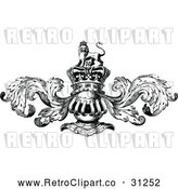 Vector Clip Art of Retro Knight Helmet and Crown with Flourishes by Prawny Vintage