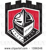 Vector Clip Art of Retro Knight Helmet in a Black White and Red Shield by Patrimonio