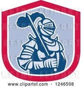 Vector Clip Art of Retro Knight in Armour, with a Sword Inside a Shield by Patrimonio