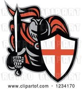 Vector Clip Art of Retro Knight in Full Armor, Holding a Sword and English Shield by Patrimonio