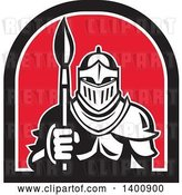 Vector Clip Art of Retro Knight in Full Armor, Holding Paint Brush in a Black White and Red Half Circle by Patrimonio