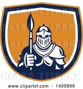 Vector Clip Art of Retro Knight in Full Armor, Holding Paint Brush in an Orange Blue and White Shield by Patrimonio