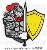 Vector Clip Art of Retro Knight in Full Armor, Holding Sword and Shield by Patrimonio