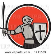 Vector Clip Art of Retro Knight in Full Armor, Holding up a Sword and Shield, Emerging from a Black White and Red-orange Circle by Patrimonio