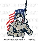 Vector Clip Art of Retro Knight in Metal Armour, Carrying an American Flag by Patrimonio