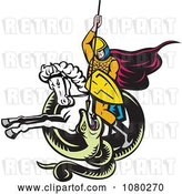 Vector Clip Art of Retro Knight on Horseback Spearing a Snake by Patrimonio