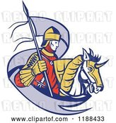 Vector Clip Art of Retro Knight on Horseback with a Ribbon Flag by Patrimonio